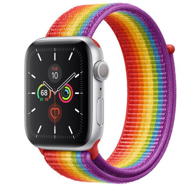 Apple Watch Series 5 GPS, 44mm Silver Aluminum Case with Pride Sport Loop