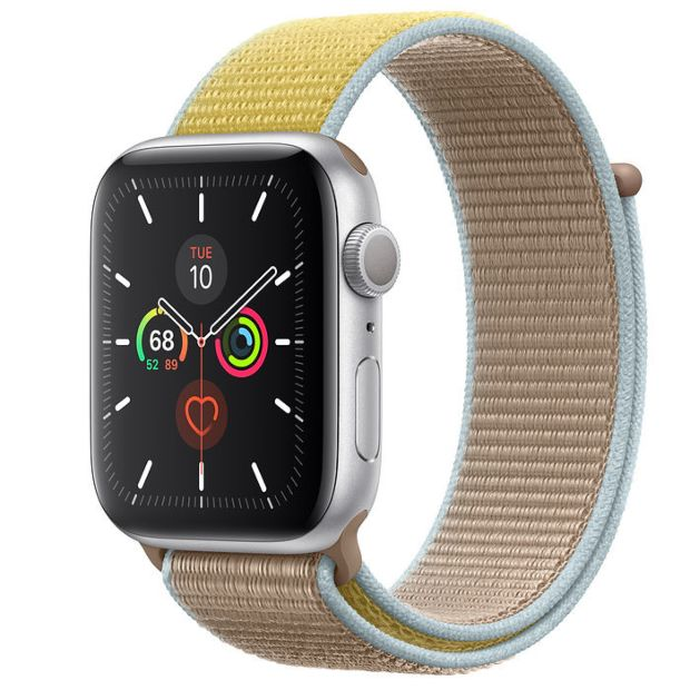 Apple Watch Series 5 GPS, 44mm Silver Aluminum Case with Camel Sport Loop