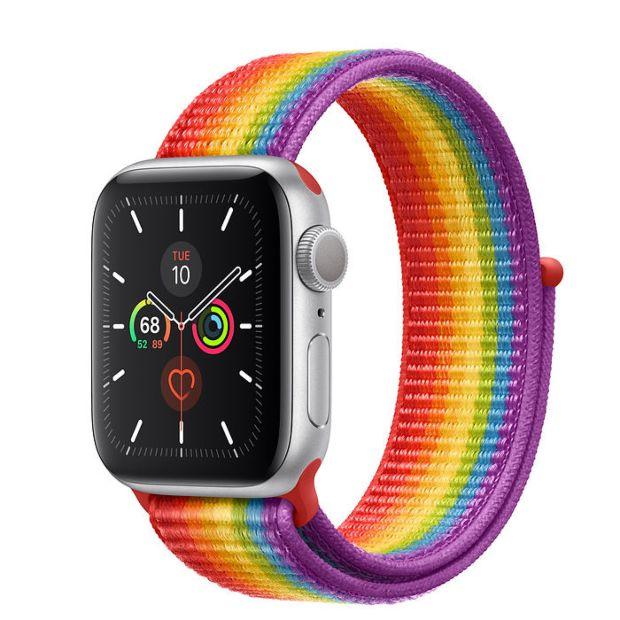 Apple Watch Series 5 GPS, 40mm Silver Aluminum Case with Pride Sport Loop