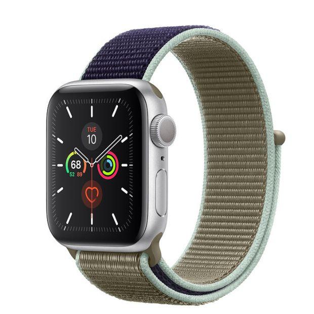 Apple Watch Series 5 GPS, 40mm Silver Aluminum Case with Khaki Sport Loop
