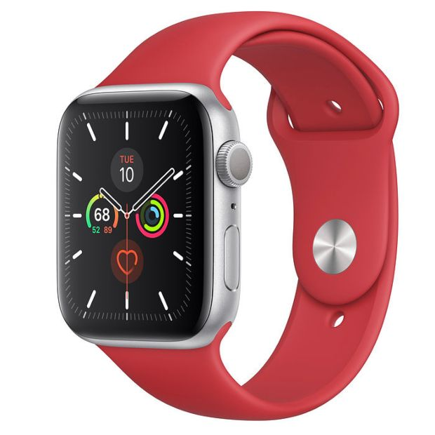 Apple Watch Series 5 GPS, 44mm Silver Aluminum Case with Red Sport Band