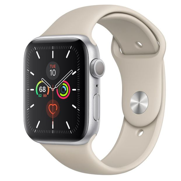 Apple Watch Series 5 GPS, 44mm Silver Aluminum Case with Stone Sport Band