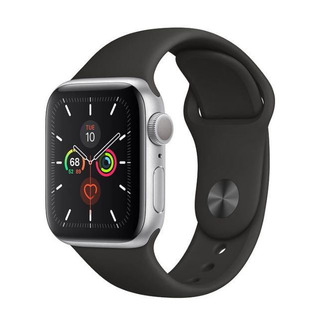 Apple Watch Series 5 GPS, 40mm Silver Aluminum Case with Black Sport Band
