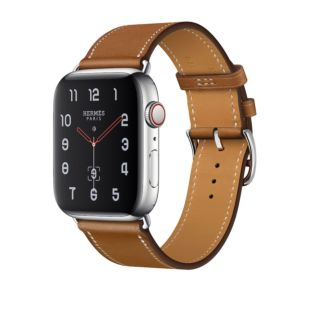 Apple Watch Hermes GPS + Cellular, 44mm Stainless Steel Case with Fauve Barenia Leather Single Tour MU6V2