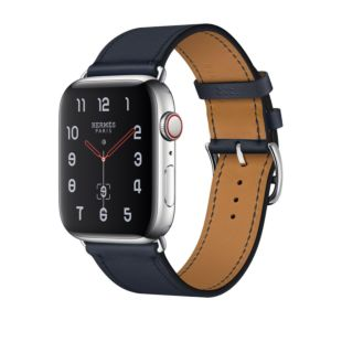 Apple Watch Hermes GPS + Cellular, 44mm Stainless Steel Case with Bleu Indigo Swift Leather Single Tour MU6W2