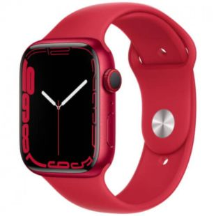 Apple Watch Series 7 GPS, 41mm Red Aluminum Case with Red Sport Band MKN23