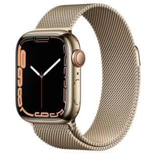 Apple Watch Series 7 GPS + Cellular, 45mm Gold Stainless Steel Case with Gold Milanese Loop MKJY3