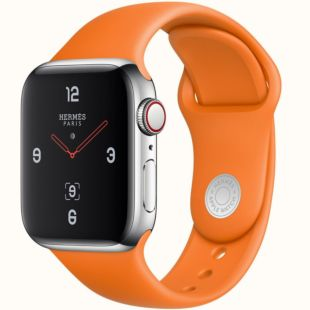 Apple Watch Hermиs GPS + Cellular, 44mm Stainless Steel Case with Orange Sport Band MUH02