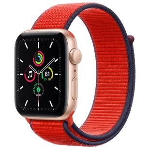Apple Watch SE GPS + Cellular, 44mm Gold Aluminum Case with Red Sport Loop MYEQ2 / MG463