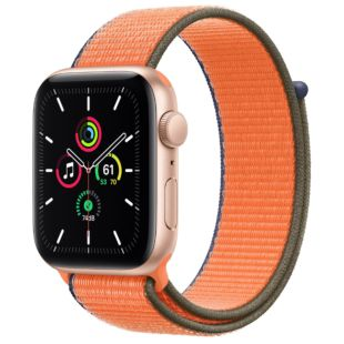 Apple Watch SE GPS + Cellular, 44mm Gold Aluminum Case with Charcoal Sport Loop MYEQ2 / MYAA2
