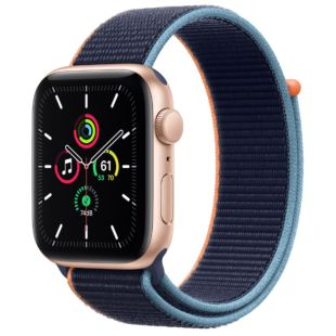 Apple Watch SE GPS + Cellular, 44mm Gold Aluminum Case with Deep Navy Sport Loop MYEQ2 / MYA82