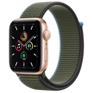 Apple Watch SE GPS + Cellular, 44mm Gold Aluminum Case with Inverness Green Sport Loop MYEQ2 / MYA72