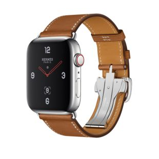 Apple Watch Hermes GPS + Cellular, 44mm Stainless Steel Case with Fauve Barenia Leather Single Tour Deployment Buckle MU6T2
