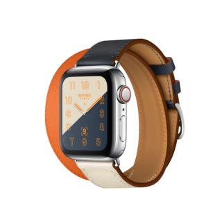Apple Watch Hermes GPS + Cellular, 40mm Stainless Steel Case with Indigo/Craie/Orange Swift Leather Double Tour MU7K2