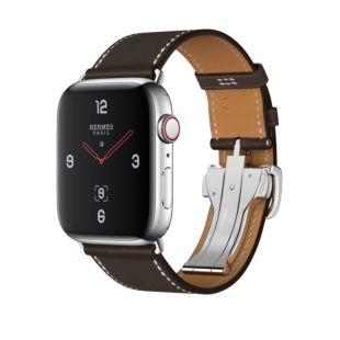 Apple Watch Hermes GPS + Cellular, 44mm Stainless Steel Case with Йbиne Barenia Leather Single Tour Deployment Buckle MU6U2