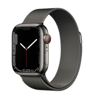 Apple Watch Series 7 GPS + Cellular, 41mm Graphite Stainless Steel Case with Graphite Milanese Loop MKJ23