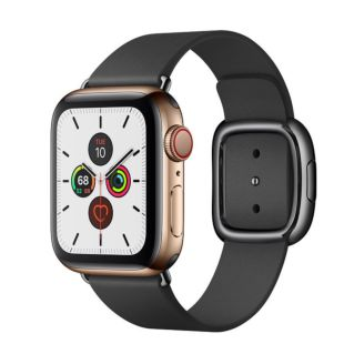 Apple Watch Series 5 GPS + Cellular, 40mm Gold Stainless Steel Case with Black Modern Buckle