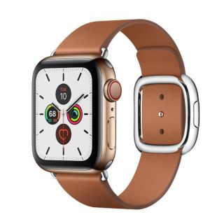 Apple Watch Series 5 GPS + Cellular, 40mm Gold Stainless Steel Case with Saddle Brown Modern Buckle