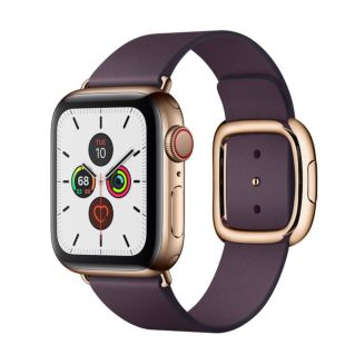 Apple Watch Series 5 GPS + Cellular, 40mm Gold Stainless Steel Case with Aubergine Modern Buckle MWPW2 / MWRK2