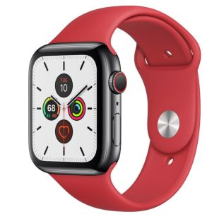 Apple Watch Series 5 GPS + Cellular, 44mm Space Black Stainless Steel Case with Red Sport Band