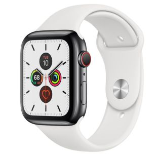 Apple Watch Series 5 GPS + Cellular, 44mm Space Black Stainless Steel Case with White Sport Band