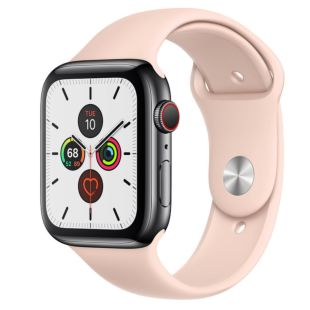 Apple Watch Series 5 GPS + Cellular, 44mm Space Black Stainless Steel Case with Pink Sand Sport Band