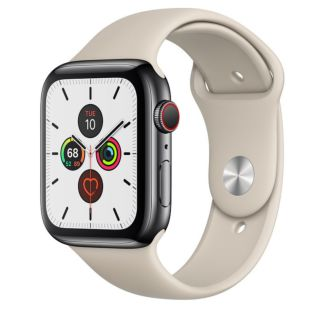 Apple Watch Series 5 GPS + Cellular, 44mm Space Black Stainless Steel Case with Stone Sport Band
