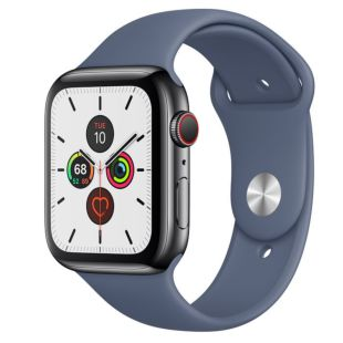 Apple Watch Series 5 GPS + Cellular, 44mm Space Black Stainless Steel Case with Alaskan Blue Sport Band