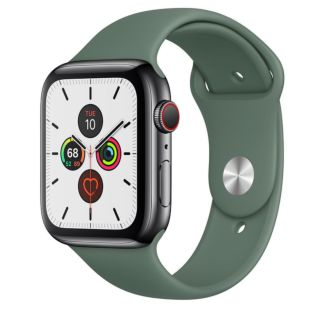Apple Watch Series 5 GPS + Cellular, 44mm Space Black Stainless Steel Case with Pine Green Sport Band MWQQ2 / MWUV2