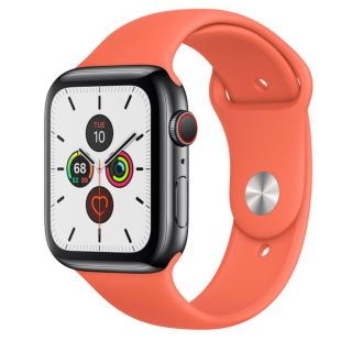 Apple Watch Series 5 GPS + Cellular, 44mm Space Black Stainless Steel Case with Clementine Sport Band