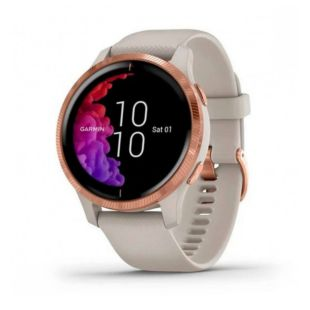 Garmin Venu Rose Gold Stainless Steel Bezel with Light Sand and Silicone B. 010-02173-21
