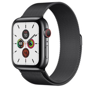 Apple Watch Series 5 GPS + Cellular, 44mm Space Black Stainless Steel Case with Space Black Milanese Loop MWW82 / MWWL2