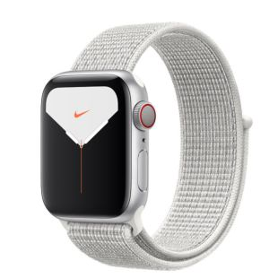 Apple Watch Nike Series 5 GPS + Cellular, 40mm Silver Aluminum Case with Summit White Nike Sport Loop
