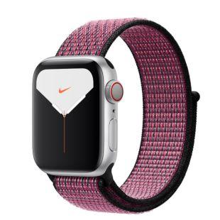Apple Watch Nike Series 5 GPS + Cellular, 40mm Silver Aluminum Case with Pink Blast/True Berry Sport Loop
