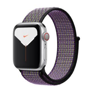 Apple Watch Nike Series 5 GPS + Cellular, 40mm Silver Aluminum Case with Desert Sand/Volt Nike Sport Loop