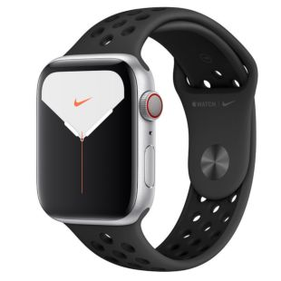 Apple Watch Nike Series 5 GPS + Cellular, 44mm Silver Aluminum Case with Pure Anthracite/Black Nike Sport Band