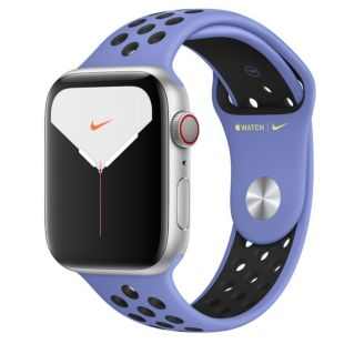 Apple Watch Nike Series 5 GPS + Cellular, 44mm Silver Aluminum Case with Royal Pulse/Black Nike Sport Band