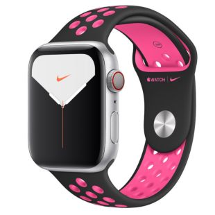 Apple Watch Nike Series 5 GPS + Cellular, 44mm Silver Aluminum Case with Black/Pink Blast Nike Sport Band