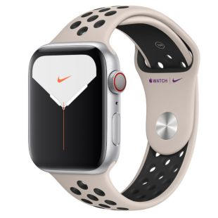 Apple Watch Nike Series 5 GPS + Cellular, 44mm Silver Aluminum Case with Desert Sand/Black Nike Sport Band