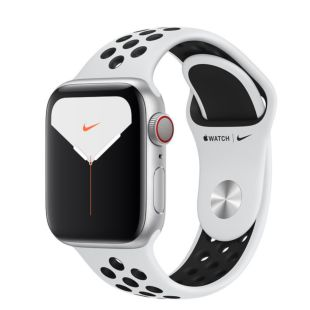 Apple Watch Nike Series 5 GPS + Cellular, 40mm Silver Aluminum Case with Pure Platinum/Black Nike Sport Band MX3V2GK/A