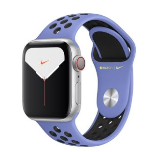 Apple Watch Nike Series 5 GPS + Cellular, 40mm Silver Aluminum Case with Royal Pulse/Black Nike Sport Band