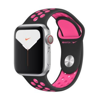 Apple Watch Nike Series 5 GPS + Cellular, 40mm Silver Aluminum Case with Black/Pink Blast Nike Sport Band