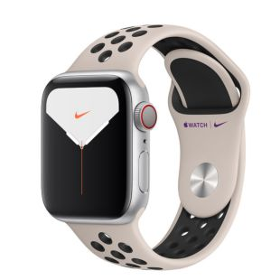 Apple Watch Nike Series 5 GPS + Cellular, 40mm Silver Aluminum Case with Desert Sand/Black Nike Sport Band