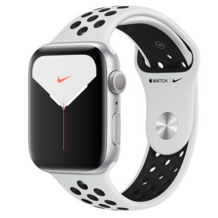 Apple Watch Nike Series 5 GPS, 44mm Silver Aluminum Case with Pure Platinum/Black Nike Sport Band MX3V2