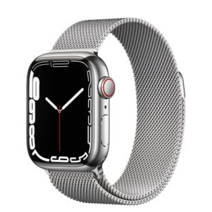Apple Watch Series 7 GPS + Cellular, 41mm Silver Stainless Steel Case with Silver Milanese Loop MKHX3