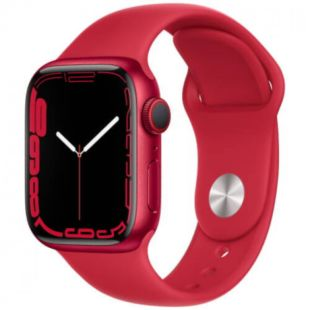 Apple Watch Series 7 GPS, 45mm Red Aluminum Case with Red Sport Band MKN93