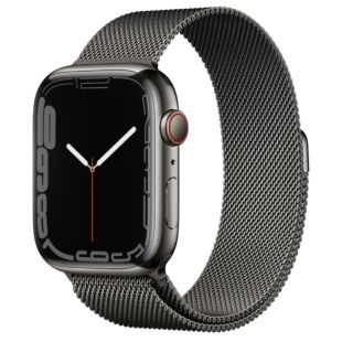 Apple Watch Series 7 GPS + Cellular, 45mm Graphite Stainless Steel Case with Graphite Milanese Loop MKJJ3