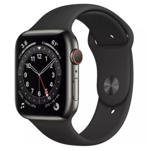 Apple Watch Series 6 GPS + Cellular, 44mm Graphite Stainless Steel Case with Black Sport Band M09H3 / M07Q3