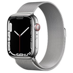Apple Watch Series 7 GPS + Cellular, 45mm Silver Stainless Steel Case with Silver Milanese Loop MKJE3