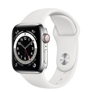 Apple Watch Series 6 GPS + Cellular, 40mm Silver Stainless Steel Case with White Sport Band M02U3 / M06T3